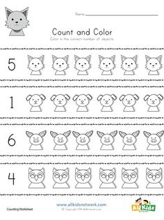 Kids count and color the correct number of animals in each section. This free worksheet is great for kids practicing their basic counting skills. Color Worksheets For Preschool, Animal Worksheets, Preschool Colors, Phonics Worksheets, Preschool Kindergarten, Counting For Kids, Pig Crafts, Farm Activities, Coloring Sheets For Kids