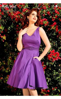 Havana Nights Dress in PurpleThe Havana Nights The V-neckline is a little modest and a lot flattering and the darted bodice will fit a range of bust sizes. The grommet belt cinches you in at the waist and the full skirt has deep side pockets for a fun and functional silhouette.  See more at: http://www.pinupgirlclothing.com/havan-purple.html#sthash.3BxWYqbN.dpuf