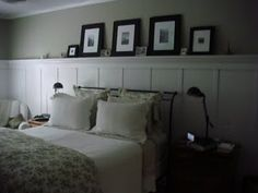 Board and batten with shelf along entire wall length over bed- master bedroom accent wall Wall Behind Bed, Bed Wall, Accent Wall Bedroom, Bedroom Decor, Bedroom Ideas, Bedroom Headboards, Bedroom Bed, Nursery Ideas, Shelves In Bedroom