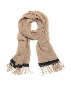 Elegant Bufanda de lana y seda lisa con detalle de línea negra y flecos,