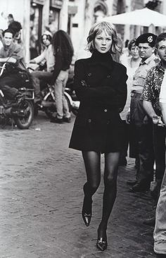 "Model: Kate Moss; photographer: Peter Lindbergh; ""Who's that girl?"" Harper's Bazaar September 1994"