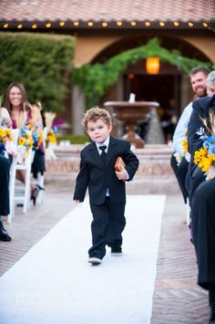 Ring bearer walking down the aisle #villasiena #arizona #wedding #ringbearer