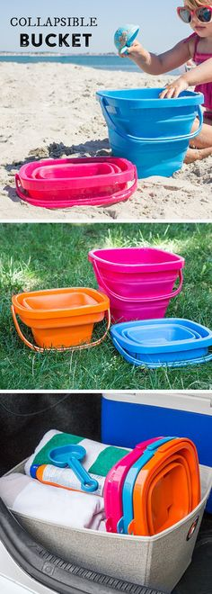 Packable Pails - Packable Pails This foldable pail makes for easier beach excursions—and lighter packing. Sturdy silicone stands up to sand, sun, water, and enthusiastic kids.