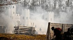 """Skirmish USA, the world's largest paintball game, boasts over 50 playing fields. The paintball facility is home to paintball's largest """"scenario games,"""" including the Invasion of Normandy which was voted the """"Most Manly Man Adventures"""" by the Travel Channel."""