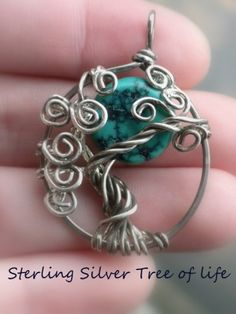 Turquoise Tree of Life in sterling silver. I prefer the cooper but this is my most favorite stone that she works with.