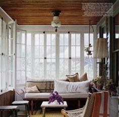 Great wood ceiling on the sun porch