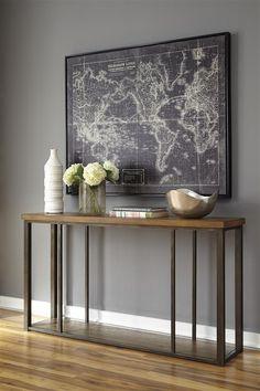 Branslien Contemporary Brown Wood Metal Sofa Table