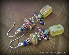 Gypsy, Bohemian, Roman Glass, Lampwork Glass, Earthy, Ethereal, Primitive, Organic, Rustic, Silver, Charm, Beaded Earrings by YuccaBloom on Etsy