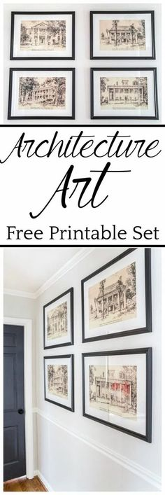 A set of 4 architectural printable art of Southern Antebellum mansions perfect to mat and frame for an antique feel anywhere in your home. #architecturalprints #architecturalart #freeprintableart #freeprintables #freeart #walldecor #hallway Farmhouse Side Table, Farmhouse Decor, Architectural Prints, Diy Vanity, Art Mural, Wall Art, Wall Murals, Decorating On A Budget, Home Look
