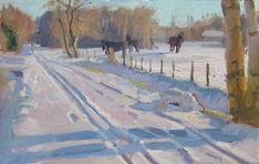 Joost Doornik > Friesche paarden in de sneeuw | Olieverf op paneel, 25x40 cm Michel Delacroix, I Love Winter, Dutch Painters, Garden Landscaping, Landscape Paintings, Holland, Snow, Horses, Artists