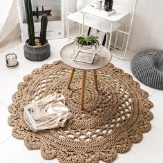Arlo - Hand Woven Crochet Rug For a more natural look and feel to your home decorate with the exquisite Arlo crochet rug! Made from hand woven, eco-friendly natural jute. Measures approximately 39 Crochet Rug Patterns, Tapis Design, Crochet Home Decor, Round Area Rugs, Crochet Round, Jute Rug, Hand Weaving, Eco Friendly, Home Decor Accessories