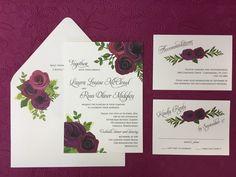 Love these deep colors for a fall garden wedding. #FallFloral #WeddingInvitation #BerryandSangria