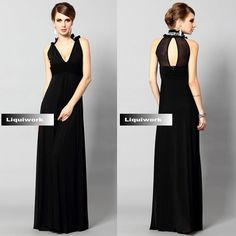Women Black V Neck Halter Ball Gowns Long Prom Evening Bridesmaid Dress SKU-122589