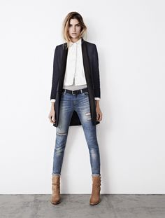 Long blazer, cropped distressed jeans, shirt. allsaints Spring Summer 2013 Lookbook 9