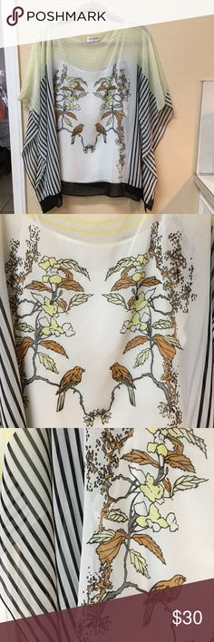 M.S.S.P. Large top Black & white striped yellow Beautiful flowy top. Size Large by Max Studio Specialty Products (M.S.S.P.) It has such a unique bird scene for all you nature lovers. It has a tank top lining the shirt. There are many colors to work with. I just wore it 2-3 times with a black skirt & y'all boots. I got lots of compliments. Max Studio Tops Blouses