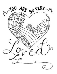 180 Best Hearts + Love Coloring Pages for Adults images in