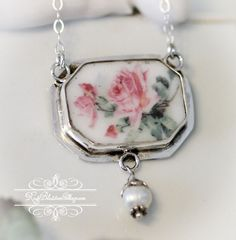 Broken China Jewelry Pink Roses Octagon Necklace & Pearl Drop