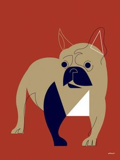 """""""Mod Dog French Bulldog"""" stretched canvas wall art by Eleanor Grosch for GreenBox Art + Culture"""