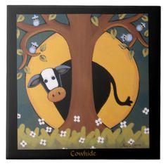 Cowhide - Whimsical Hiding Cow Art Tile