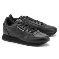 REEBOK CL Leather - Czarne Skórzane Sportowe Damskie - Mivo #mivo #mivoshoes #shoes #buty #reebok #women #black #fashion #classic #model #sport #running #new #collection #spring #summer