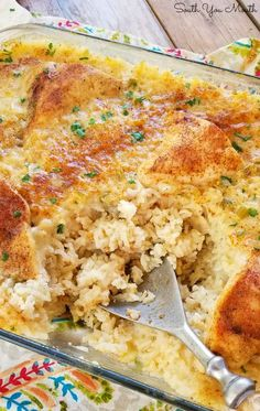 casserole recipes An easy casserole recipe for creamy rice and fork-tender chicken that cooks in one dish. No need to precook the rice or brown the chicken first just mix and bake! Cajun Chicken And Rice, Chicken Rice Bake, Cream Of Chicken Soup, Baked Chicken, Ground Chicken Casserole, Chicken And Brown Rice, Recipe Using Cream Of Celery Soup, Garlic Chicken, No Peak Chicken