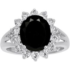 Oval Genuine Black Onyx and Lab-Created White Sapphire Ring (36.300 HUF) ❤ liked on Polyvore featuring jewelry, rings, accessories, black, jewels, white sapphire jewelry, black onyx rings, oval ring, white sapphire rings and black onyx jewelry