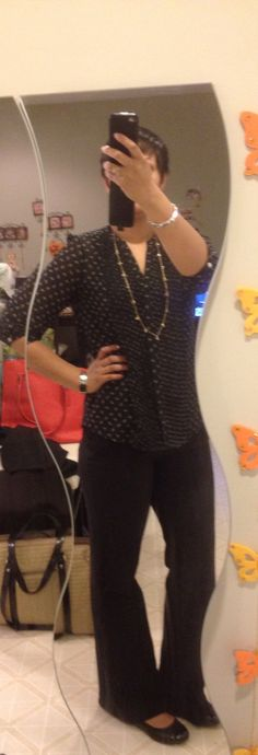 Black blouse with bird print and black pants all H&M//// black dexflex PaylessShoeSource/// Necklace Stella and Dot