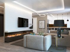The project of a large kitchen-living room with a bio fireplace in the city of Nikolaev Living Room Tv, Living Room With Fireplace, Living Room Kitchen, Living Room Interior, Luxury Kitchens, Diy Home Improvement, Living Room Designs, Architecture Design, House Design
