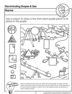 discriminating shapes and size visual discrimination worksheet for preschoolers jumpstart - Learning Colors Worksheets For Preschoolers