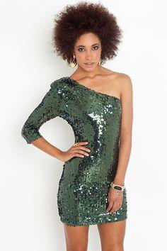 Nasty Gal Disco Queen Dress  in Green (emerald)