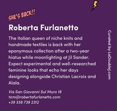 Roberta Furlanetto featured in La Double J fashion week guide AW16-17