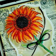 Beautiful digital Sunflower by Crafty Secrets. Colored with Inktense pencils.