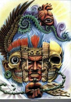 Graffiti Art, Mayan Tattoos, Aztec Tattoo Designs, Beautiful Dark Art, Aztec Culture, Aztec Warrior, Inka, Mexico Art, Grunge Art