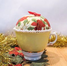 Christmas Teacup Pincushion - needlework accessories, embroidery on Etsy, $10.00