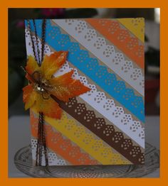 Fall striped lace card, cute use of a lace border punch.