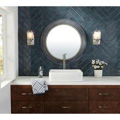 La Belle Antique Blue Polished Ceramic Tile – 3 x 12 – 100507706 - badezimmer fliesen Bathroom Gallery, Bathroom Red, Bathroom Wallpaper, Bathroom Interior, Small Bathroom, Bathroom Ideas, Bathroom Organization, Minimal Bathroom, Marble Bathrooms