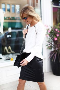 knit sweater + leather skirt