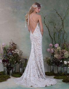 Stunning lace print wedding dress with nude slip underneath. | Elizabeth Fillmore Fall 2015 Wedding Dresses via @WorldofBridal