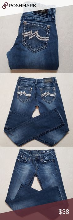 """Miss Me Jeans Cute Miss Me straight leg jeans with white leather and gray stitching details on back pockets. All brads/rivets intact. Great condition! 33.5"""" inseam, 7.5"""" rise 15"""" waist across Miss Me Jeans Straight Leg"""