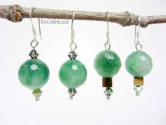 green apple agate earrings - christmas earrings - swarovski crystal - hematite cube - sterling silver ear hooks - handmade by RockinLola