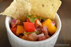 Rhubarb Salsa - My Island Bistro Kitchen Sweet Salsa, Spicy Salsa, Bistro Kitchen, Rich Recipe, Rhubarb Recipes, Crushed Pineapple, Vegetarian Paleo, Tasty