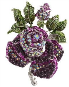 Ladies Purple with Green Iced Out Rose Pedal Style Brooch & Pin Pendant JOTW http://www.amazon.com/dp/B00B1W4RB4/ref=cm_sw_r_pi_dp_8aVgub0TX8ZZP