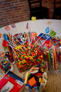 kids table at wedding  -  Look at the legos, and crayons, not so much the candy... lol
