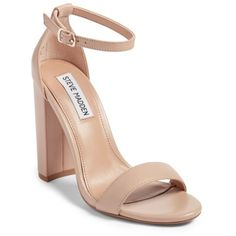 Women's Steve Madden Carrson Sandal (1,620 MXN) ❤ liked on Polyvore featuring shoes, sandals, blush leather, ankle tie shoes, wide heel shoes, steve madden, chunky heel shoes and thick heel shoes