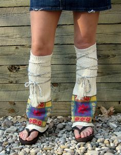 Tribal Flair Leg Warmers Hippie Clothing Boho Clothing Upcycled Boot Socks Upcycled Leg Warmers Tribal Clothing