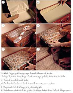 DIY tutoriel valise customisée tissu fleuri Frou-Frou, création Bis-Cute