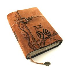 Owl Journal Leather Diary Notebook by Kreativlink on Etsy,