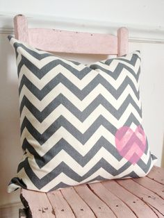 Grey ZigZag and Pink Heart Pillow by MySwallowsNest on Etsy, $25.00  #valentinesday #pink #chevron