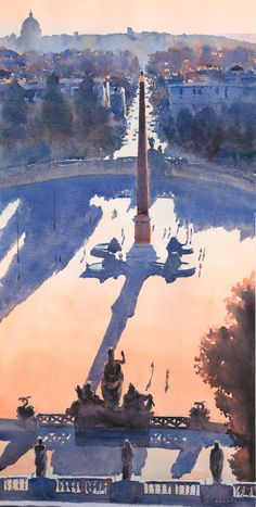 Watercolor using complimentary secondary colors. Beautiful shadow and light work. By Michael Reardon