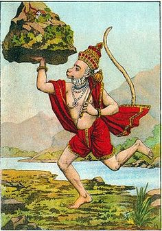 Hanuman brings the Sanjivani, a powerful life-restoring herb, from Sanjeevi mountain in the Himalayas...and brings the whole mountain!  from the story in the Ramayana https://yogainternational.com//article/view/the-mythology-behind-hanumanasana